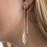 Gold And Sterling Silver Pull Through Feather Earrings, Silver