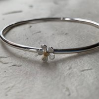 Silver And Gold Flower Bangle, Silver