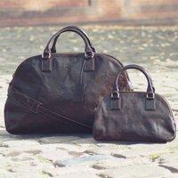 Large Ladies Leather Luggage Bag.The Liliana L, Chestnut/Tan/Dark Chocolate