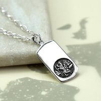 Sterling Silver St Christopher Necklace, Silver