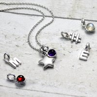 Girls Solid Silver Star Necklace, Silver