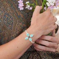 Amazonite And Black Tourmaline Gemstone Flower Bracelet
