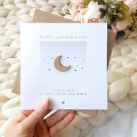 Gold Foil Moon And Back Mothers / Fathers Day Card