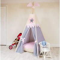 Star Teepee Tent, Blue/Pink