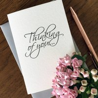 'Thinking Of You' Script Style Letterpress Card