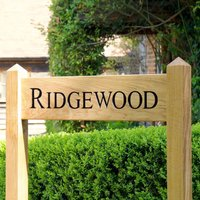 Double Post Engraved Oak Free Standing House Sign