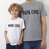 Papa Cool And Mini Cool T Shirt Set, Red/Kelly Green/Green