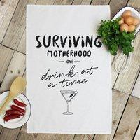 Personalised 'Surviving Motherhood' Tea Towel