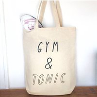 Gym And Tonic Canvas Shopping Tote Bag, beige