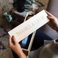 Thanks A Latte Coffee Gift Kit In Engraved Wooden Box