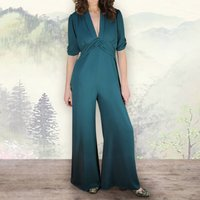 Glamorous Trouser Suit In Emerald Moss Crepe