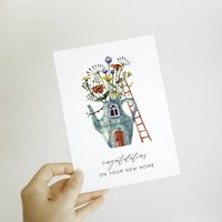 New Home Floral Teapot Card