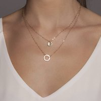 Gold Or Silver Layered Necklace Set With Karma Disc, Silver