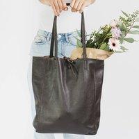 Dark Chocolate Soft Leather Tote Shopper