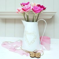 Large Paper Anniversary Rose Flowers With Jug And Tag