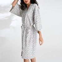 Cotton Wrap Kimono In White Ikat