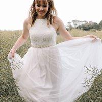 Boho High Shoestring Halterneck Bridal Dress