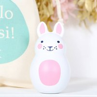 Pink Bunny Rabbit Chiming Toy And Personalised Gift Bag