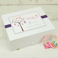 New Baby Personalised Tweetheart Keepsake Box, Lilac/Blue