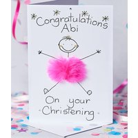 Handmade Personalised Baby Card, Pink/Turquoise Blue/Turquoise