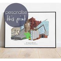 Manchester Graduation Skyline Personalised Print