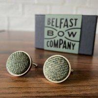 Islay Tweed Cufflinks In Olive Green