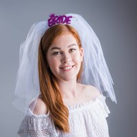 Bride With Mini Crown Wedding Veil Tiara Headband, Turquoise/Sky Blue/Blue