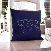 Personalised World Map Cushion Cover, Navy Blue/Navy/Blue