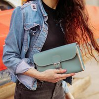 Leather Clutch Bag In Stormy Sea Grey