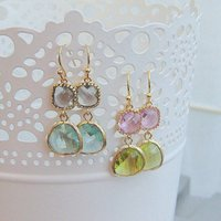 Esme Glass Drop Earrings, Peridot/Pink/Sapphire