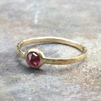 Earth Ring 9ct Yellow Eco Gold, Recycled Rosecut Garnet, Gold