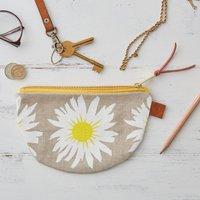 Daisy Floral Half Moon Linen Purse
