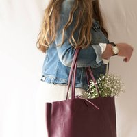 Burgundy Soft Leather Tote Shopper