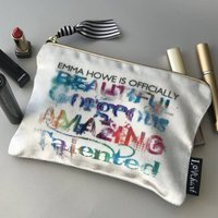 Personalised Rainbow Amazing Print Velvet Makeup Bag