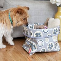 Oilcloth Dog Toy Storage Basket In Poppy Fabric
