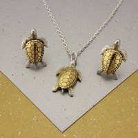 Small Turtle Necklace And Studs Set In Gold And Silver, Silver
