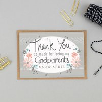 Thank You For Being My Godparents Card Personalised