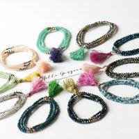 Three Wrap Crystal Tassel Bracelet