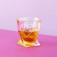Heart Monogram Twisted Whiskey Tumbler