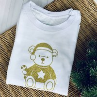 Gold Sparkle Teddy Bear Christmas T Shirt Personalised