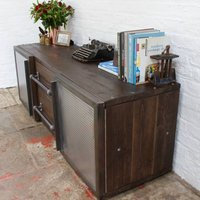Shipton Industrial Wood And Perforated Steel Sideboard