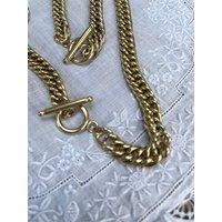 Gold T Bar Necklace And Bracelet, Gold