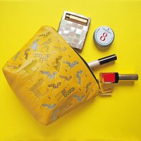 Animal Embroidered Lambs Leather Zipped Make Up Bag, Yellow