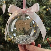 Personalised Polar Bear Baby's First Christmas Bauble