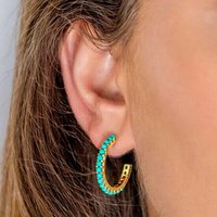 Halo Radiance Turquoise Gold Hoop Earrings, Gold