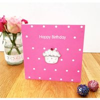 A Hand Embroidered Cupcake Birthday Card