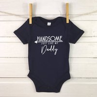 Handsome Just Like My Daddy Babygrow, Blue/Navy/Grey