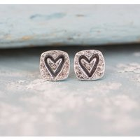 Square Heart Silver Stud Earrings, Silver