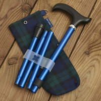 Navy Walking Stick Folding Cane With Tartan Storage Bag