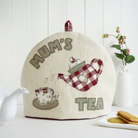 Personalised Tea Cosy Gift For Her, Cream/Red/Blue
